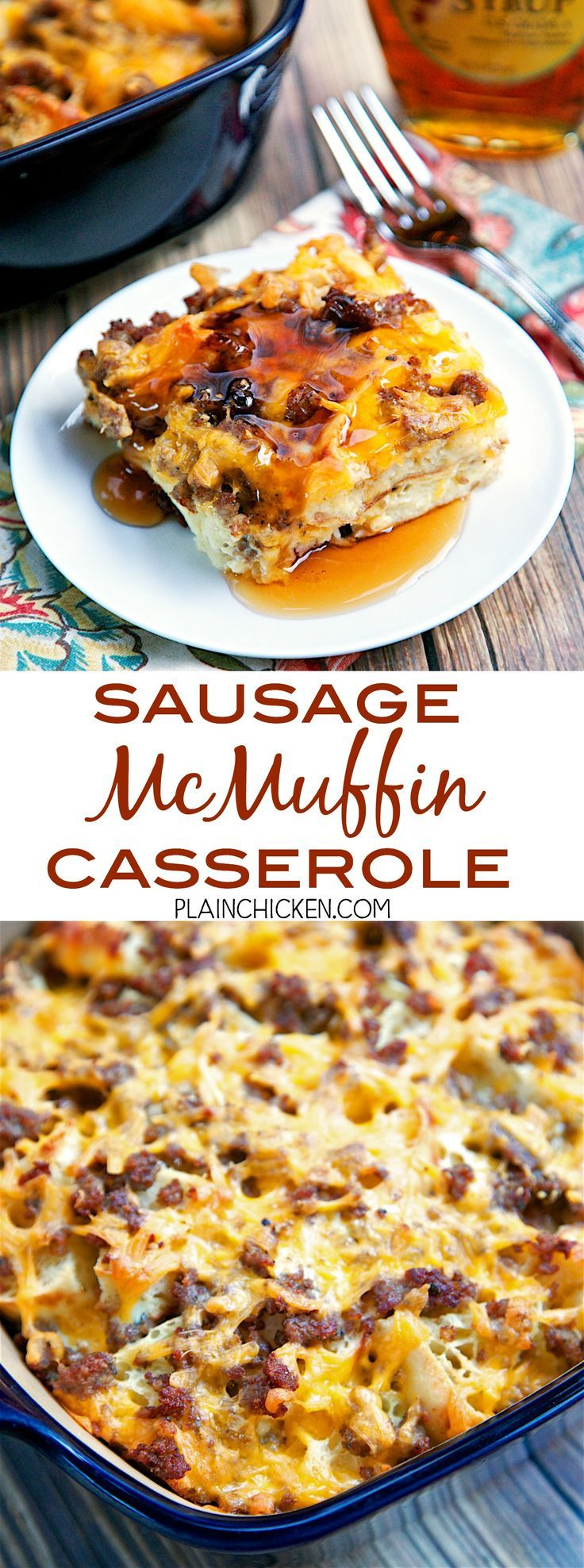 Sausage McMuffin Casserole - Chopped English muffins, sausage, cheese, eggs and milk. Can make a day ahead of time and bake for breakfast, lunch or dinner.