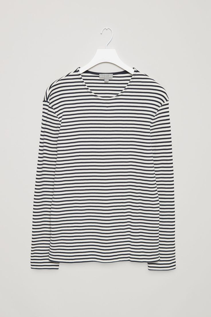 COS image 4 of Striped waffle-knit top in Dark Navy