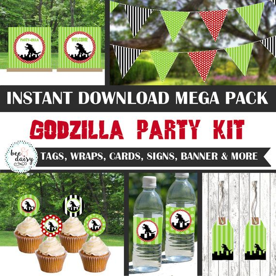 Godzilla Birthday Decorations Godzilla Party by BeeAndDaisy