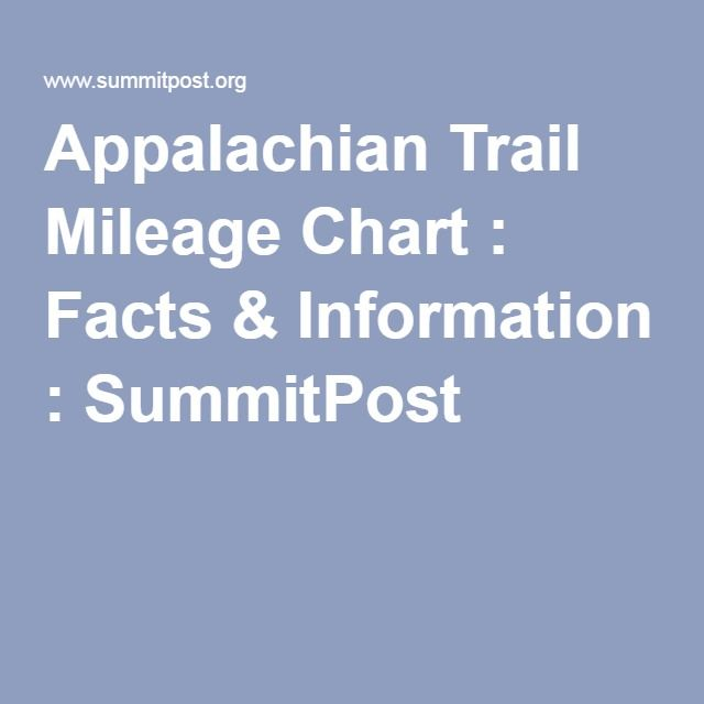 Appalachian Trail Mileage Chart : Facts & Information ...