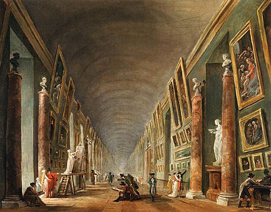 le Louvre {paintings were displayed on top of eachother}