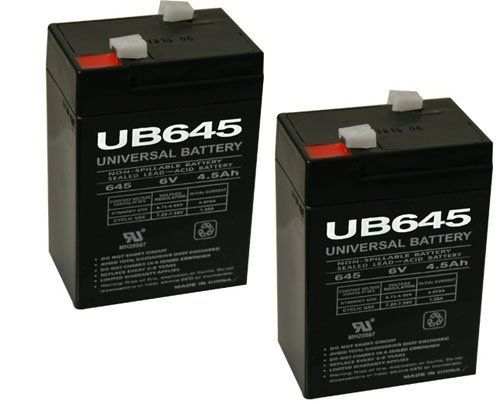 6V 4.5Ah SLA Rechargeable - 2 Pack by UPG. $15.49. UB645 6V 4.5AH - Absorbant Glass Mat (AGM) technology for superior performance. Valve regulated, spill proof construction allows safe operation in any position.  Common uses for the UB645: Consumer Electronics, Electric Vehicles, Engine Starters, Golf Carts, Hunting, Lawn and Garden Tools, Medical Mobility, Motorcycles, Photography, Power sports, Portable Tools, Solar, Toys and Hobby, Access Control Devices, E...