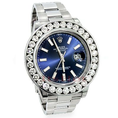 This Mens Rolex Datejust Custom Diamond Watch features 7.50 carats of genuine diamonds, a brushed stainless steel case and a Stainless Steel band. This Rolex Mens Diamond Watch showcases a midnight blue dial with luminous hour markers  and a date display at the 3 oclock position. Please note: This custom Rolex diamond watch is pre-owned in excellent condition and comes with a full year warranty from ItsHot.com.