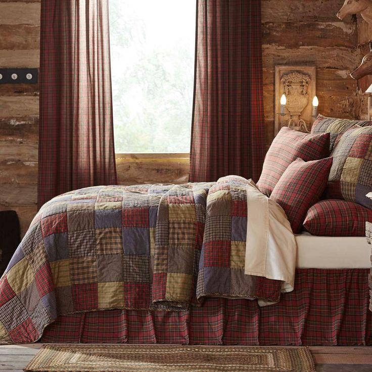 3PC KING Size Quilt SET L95xW105 Cedar Ridge Lodge Cabin Reversible Bedding NEW #VhcBrands #Farmhouse