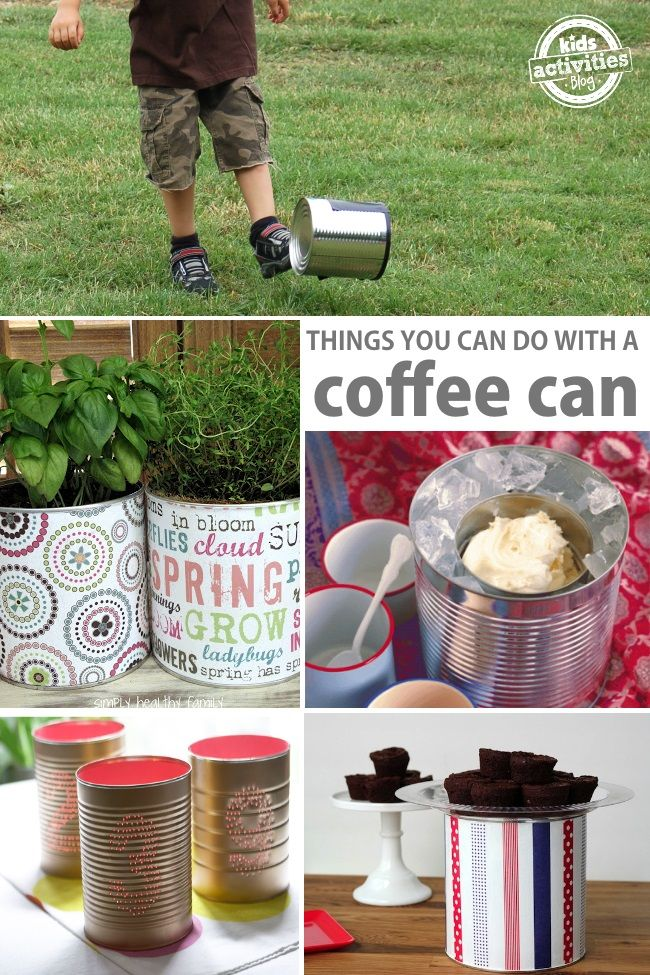 There are so many cool things you can make with a coffee can!  Upcycle coffee cans into simple kid's games and easy crafts for kids from Kids Activities Blog.