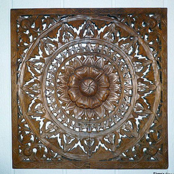 Vintage TEAKWOOD WALL PANEL Relief Hand-Carved by ElveesCloset
