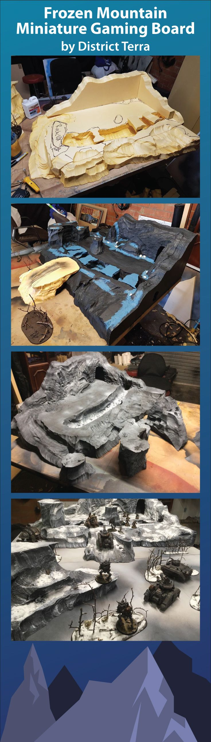 This gaming board is from District : Terra in Australia. It is made of foam, which was sculpted using the #HotWireFoamFactory Freehand Router. He achieved a cool crackle effect to make the river appear frozen - view more photos on the gallery page! #MiniatureGaming #Wargaming
