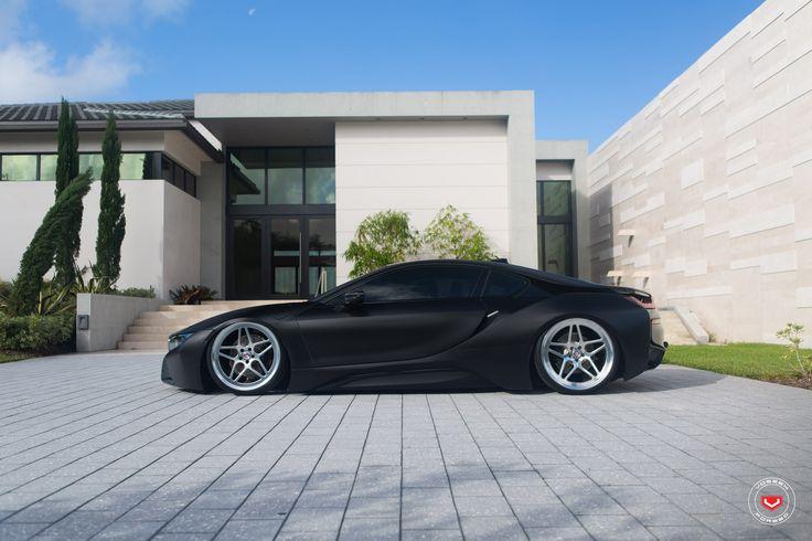 Jaw Dropping bagged BMW i8 http://blog.vossenwheels.com/matte-black-bmw-i8-on-vossen-lc-104-wheels/