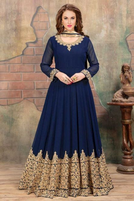 8f74c415fe #Threadsutra #Eid #Pakistani #Dresses - Party Wear #Designer Long #Anarkali  Suit in Royal Blue