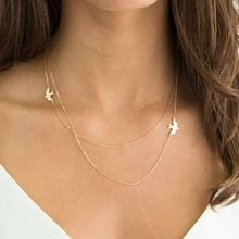 US $1.20 TOMTOSH New Hot Double layer Peace Pigeon Necklace Layered Simple Birds Necklace Clavicle Chains Charm Womens Fashion Jewelry. Aliexpress product