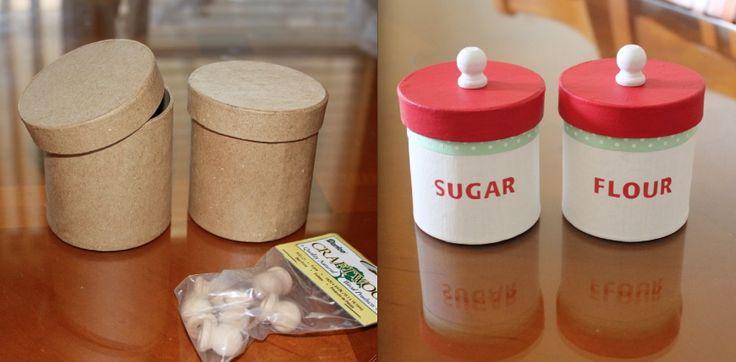Condiments for Sophia's play #kitchen, cost me less than $3 to make. #flour #sugar @Judith Zissman de Munck Puente