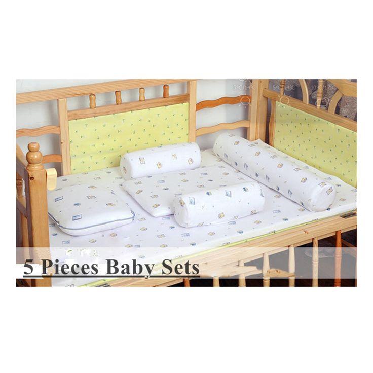 5ピース0-2年ラテックスベビーベッドベビーマットレスセット赤ちゃんラテックス寝具セット綿カバー(で赤ちゃんを強化、幼児ラテックス枕)