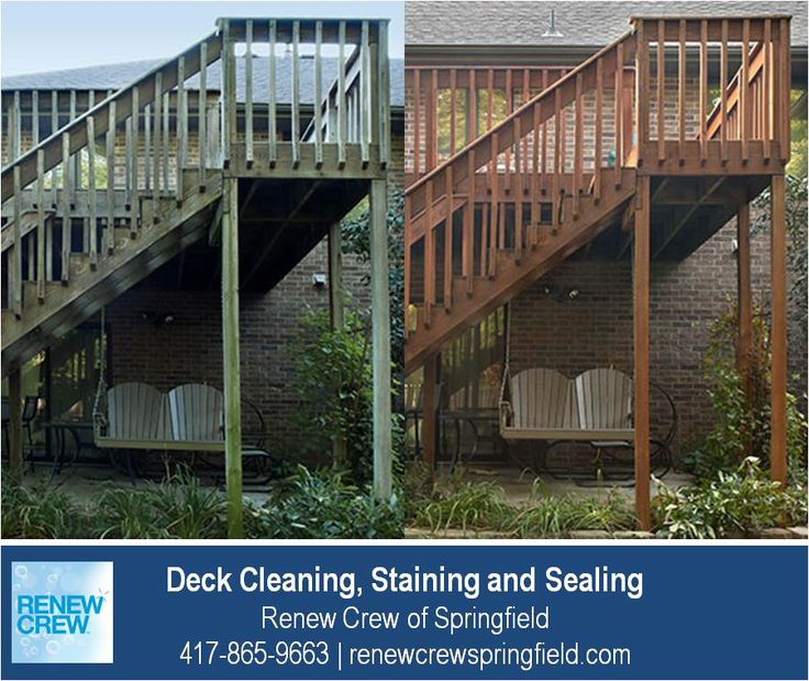 http://renewcrewspringfield.com/deck-cleaning-staining-sealing/ – After cleaning your deck, we stain and seal it for protection. Deck stains are available in many colors. In this before and after picture, the deck stain is darker to match the brick. We serve Springfield MO plus Greene, Christian, Webster, Polk and Dallas Counties. Free estimates.
