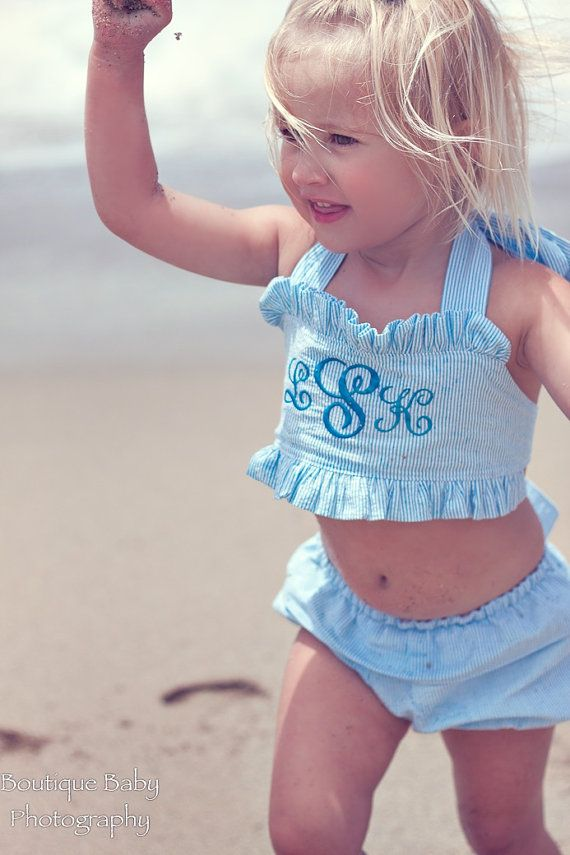 Toddler Seersucker Bikini Bathing Suit Sizes 12mos by GiftSewFine