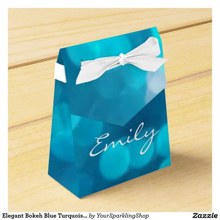 Elegant #Bokeh Blue Turquoise Circles Pattern #Favor #Box