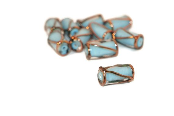 Blue Gold Bronze Czech Glass Lampwork Handmade Tube Beads 16mm x 8mm by CzechBeadsExclusive, $6.00  #bead #beads #czech #czechbeads #lampwork #etsy #glass