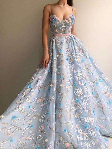 Spaghetti Straps Lace Flower A-line Long Evening Prom Dresses, Cheap Sweet 16 Dresses, 18448