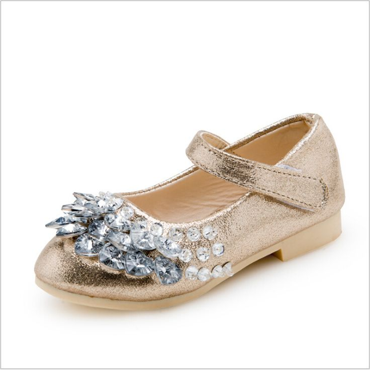 Princess Girls Diamond Sandals Spring Summer School Girls Flats Shoes Rhinestone Children Party Leather Shoes Kids Footwear #Affiliate