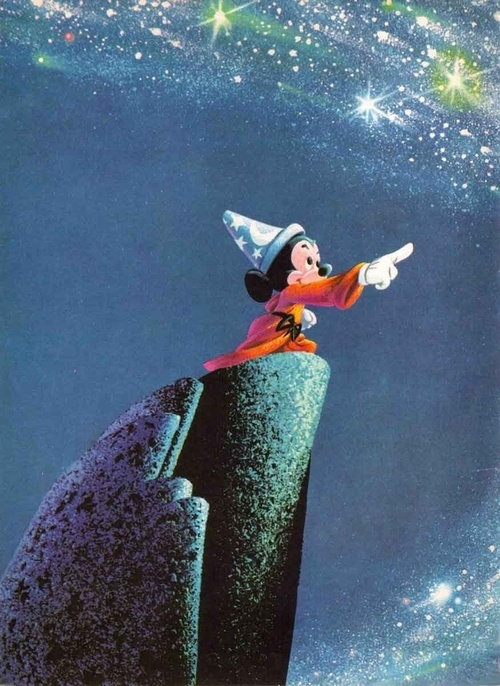 """Fantasia - The Sorcerer's Apprentice by Paul Dukas. Based on Goethe's 1797 poem """"Der Zauberlehrling"""". Mickey Mouse, the young apprentice of the sorcerer Yen Sid, attempts some of his master's magic tricks but doesn't know how to control them."""
