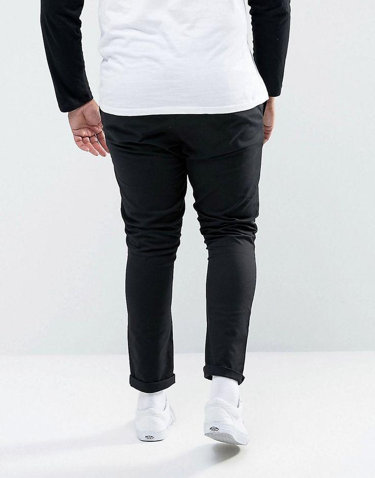 ASOS PLUS Super Skinny Chinos In Black - Black