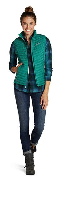 Outfitting-women | Eddie Bauer, bright colored vest, plaid shirt