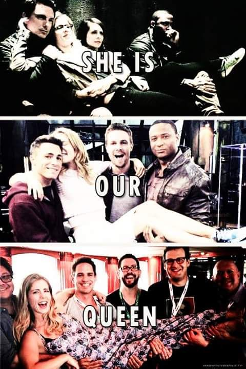 Apparently the Arrow cast (and set guys) like to carry Emily Bett Rickards