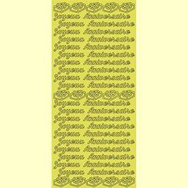 Sticker Pell-off scrapbooking Joyeux Anniversaire Doré