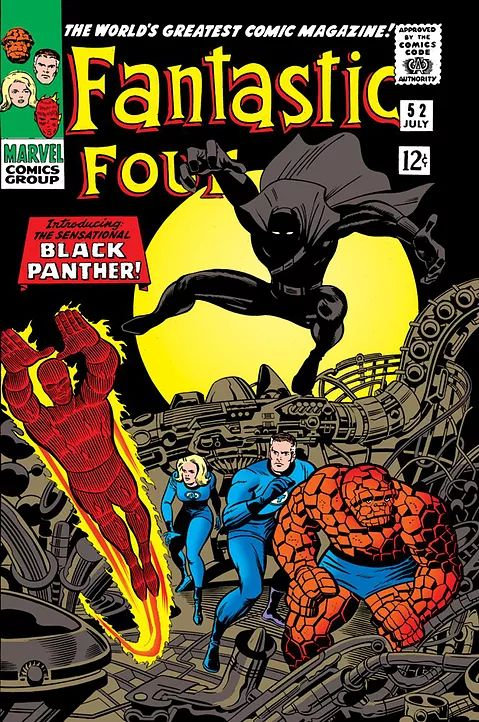 Lee & Kirby's Marvel character was authored about 8 months before the birth of political revolutionary organization, the Black Panther Party. Nonetheless, the politics of race, social injustice pressured Marvel comics to be discreet with the trailblazing character Black Panther. The first African superhero appeared only in a few comic issues. Marvel Comics popularity, artistic ambitions pursued with Black Panther issue #1 making its debut in 1977, ten years after his original inception.