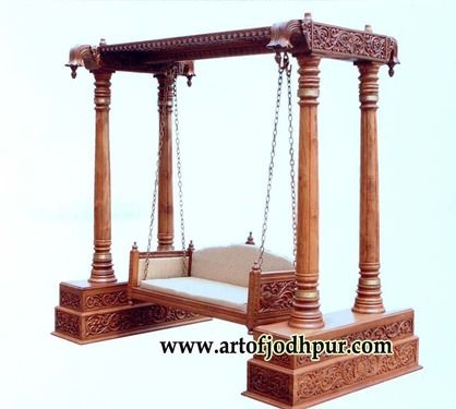 Jhula teak wood swing jodhpur handicrafts used sofa for for Living room jhula