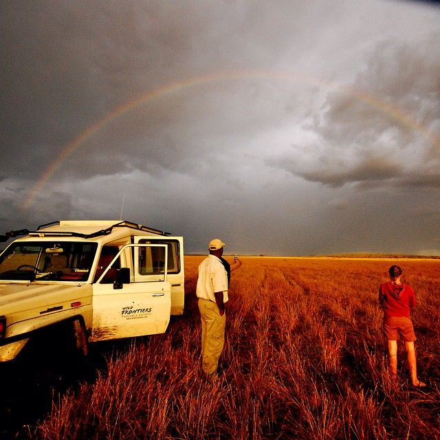 A stunning #Rainbow in the #Serengeti. Something not many people will ever see let alone photograph. If you're thinking of visiting #Tanzania why not do it with Wild Frontiers! Go to  www.wildfrontiers.com to find out more #Africa #safari #amazing #rainyseason #vehicle #tourism #tanzania