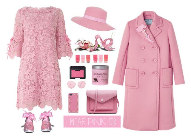 """I Wear Pink for grandma"" by bodangela on Polyvore featuring moda, Jolie Moi, Marc by Marc Jacobs, Valentino, Oliver Peoples, NARS Cosmetics, Nails Inc., River Island e IWearPinkFor"