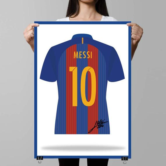 Lionel Messi Barcelona Shirt Illustrated poster A3 A4 &