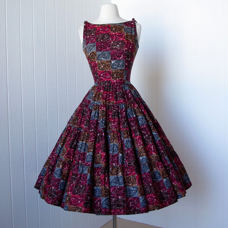 vintage 1950's dress ...fabulous TONI TODD cotton batik paisley print full circle skirt pin-up dress. $170.00, via Etsy.