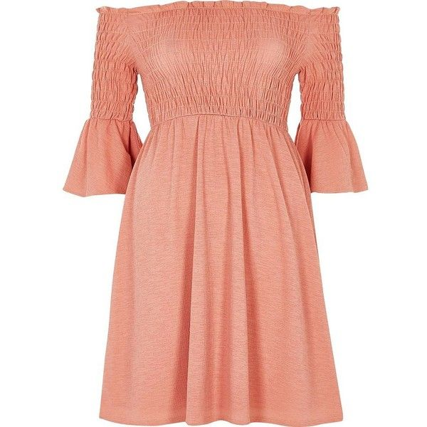 River Island Pink ruched bardot dress ($44) ❤ liked on Polyvore featuring dresses, bardot / bandeau dresses, pink, women, shirred dress, mid length dresses, pink dress, sleeved dresses and crepe dress