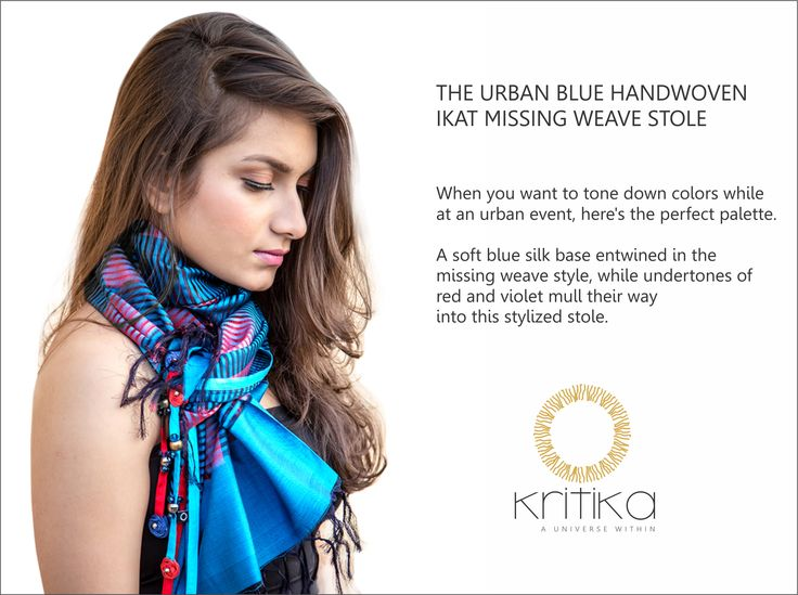 THE URBAN BLUE HANDWOVEN IKAT MISSING WEAVE STOLE  When you want to tone down colors while at an urban events, here's the perfect palette.  A soft blue silk base entwined in the missing weave style, while undertones of red and violet mull their way into this stylized stole.  Connect on +91 9820530692 / 9820530664 or mail on sonal@kritikauniverse.com #kritikasuniverse #urbanblue #handwoven #ikat #weavestole