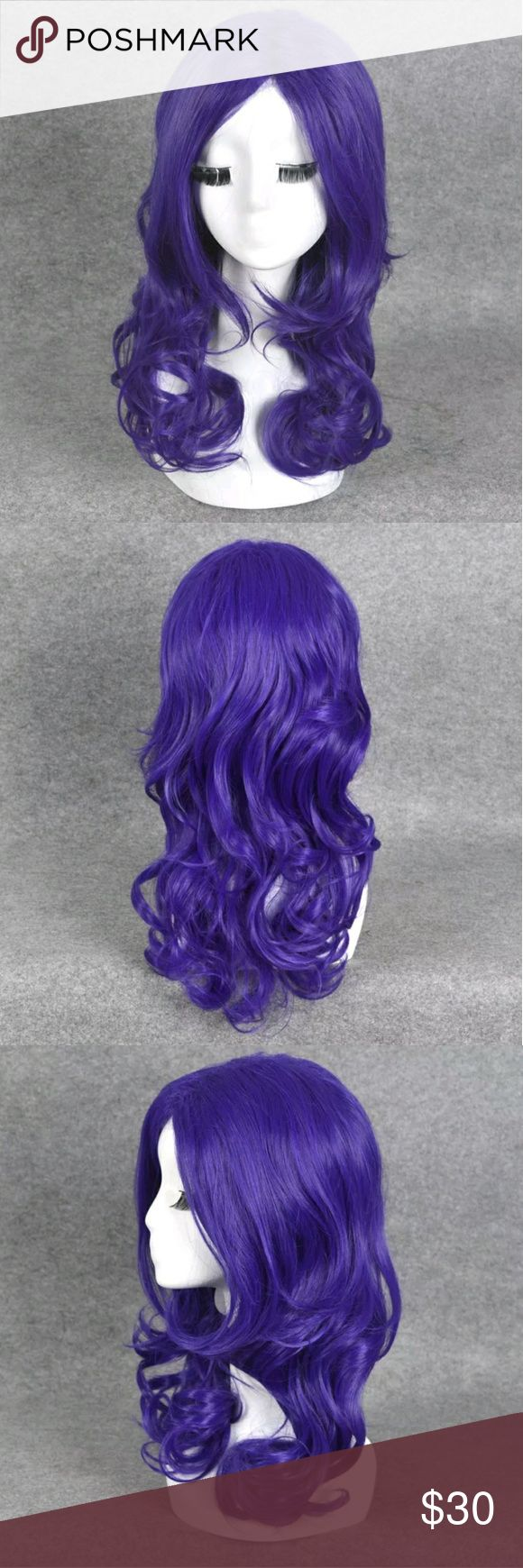 💜New Long Wavy Curly Long Purple Pretty Hair Wig New and unworn.  Purple. Long length. Curly/wavy texture.    My wigs are good quality synthetic fiber that you can heat style on a low temperature setting.    All wigs include a *FREE* wig cap if you buy it not.  (Not valid if purchased as an offer).   Halloween Cosplay My Little Pony Rarity Hot Topic Accessories Hair Accessories