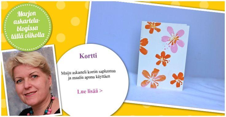 Maalilla ja sapluunalla helposti kaunis kukkakortti. Katso lisää Maijun blogista.