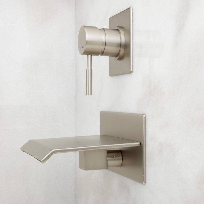 Lavelle Wall-Mount Waterfall Tub Faucet - Wall Mounted Tub Faucets - Tub Faucets - Bathroom | Bathrooms | Pinterest | Bathroom, Wall mount tub faucet and Bathr…