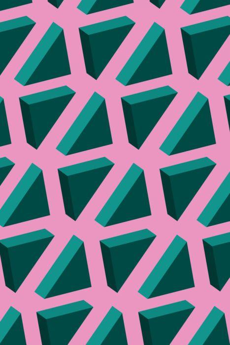 pattern | green triangles on pink DAJA https://es.pinterest.com/danijavor/