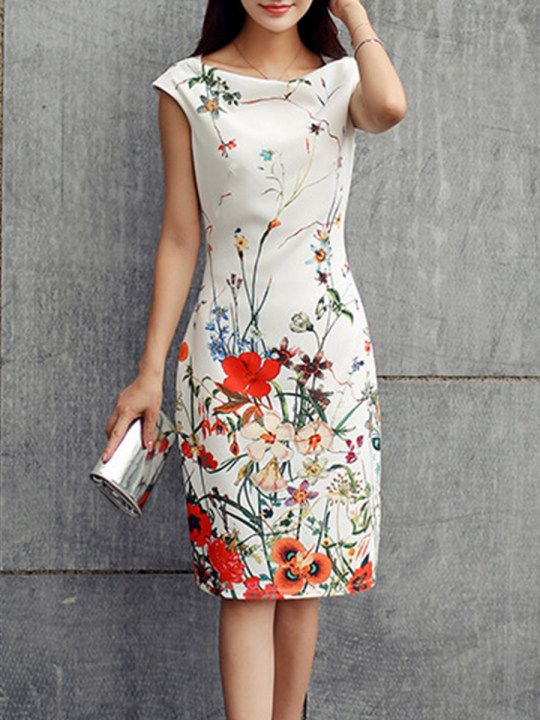 Boat Neck Zipper Floral Printed Bodycon Dress Berrylook