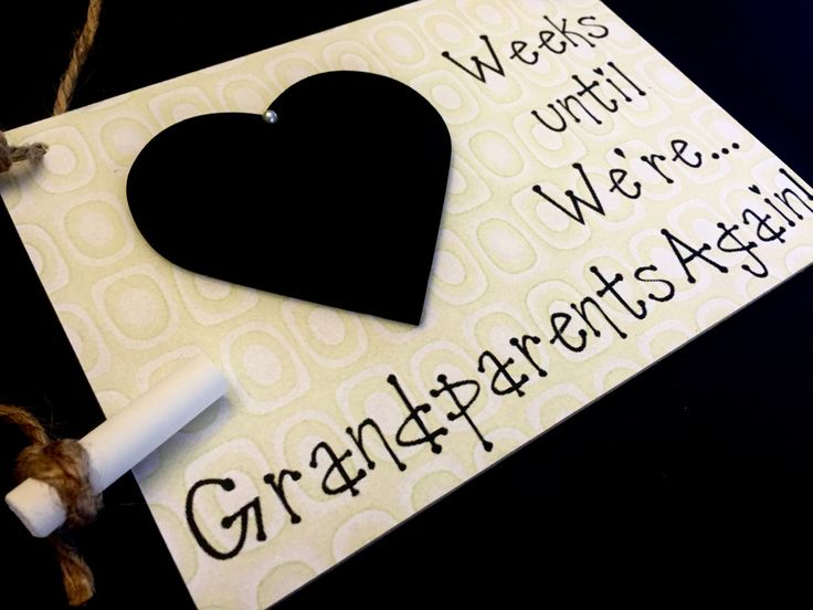 "Pregnancy Reveal To Grandparents, (Smokey Green) ""Weeks Until..We're Grandparents Again!"", Pregnancy Reveal by CountdownChalkboards on Etsy"