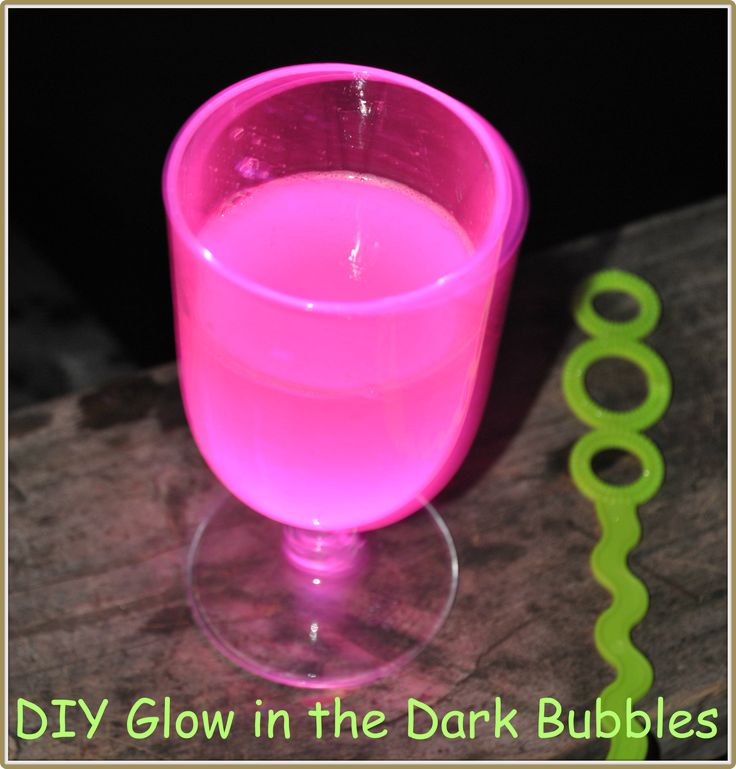 diy glow in the dark bubbles - fun with kids!  (tutorial link) brake about six glow sticks into small glass of bubbles
