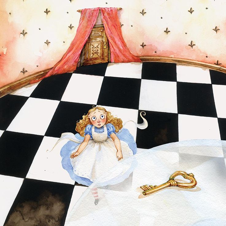 Алиса в стране чудес картинки падает снег