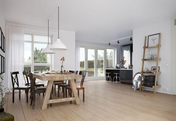 Woonstijl: moderne interieur impressie en rustieke houten tafel