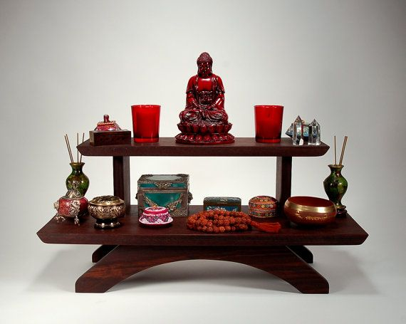 Mediation Table | Peruvian Two Tier Puja Table   Meditation Shrine   Table  Top Model