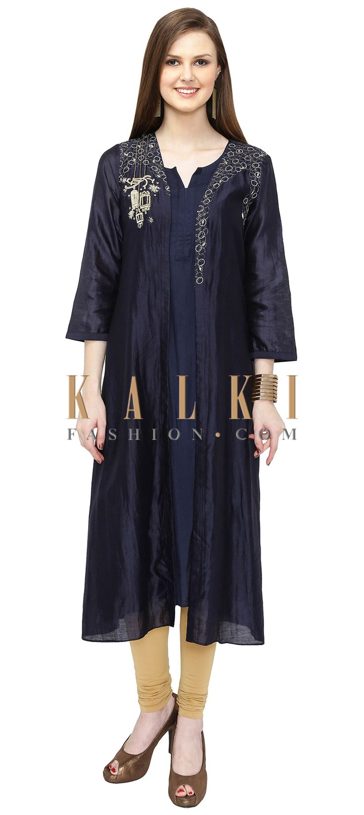 Navy Blue Cotton Silk Kurta with Zardosi Work only on Kalki