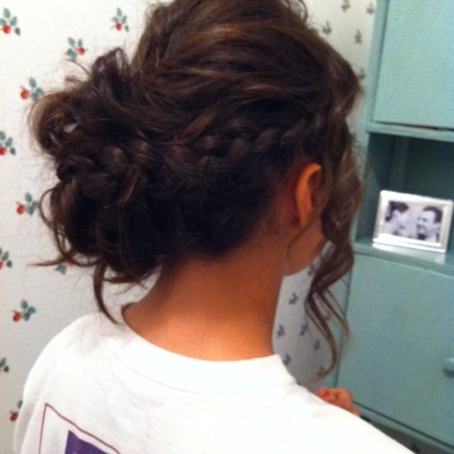 Dude, this is SO one of those perfect amount of swisty, braided, curly, scruchy, snuggly cute updos that I adore! So cute and snugglycuddly!