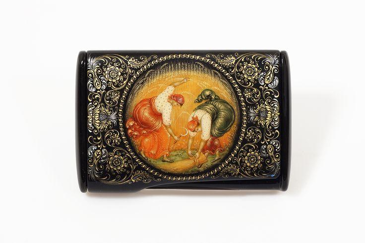 """Визитница """"Жницы"""", автор Щаницина Елена, Палех, 2016 год. Russian lacquer art. Palekh miniature. Masterpieces."""