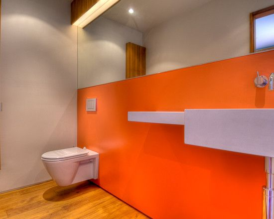 Bathroom dark brown with green and orange design pictures for Orange and brown bathroom ideas