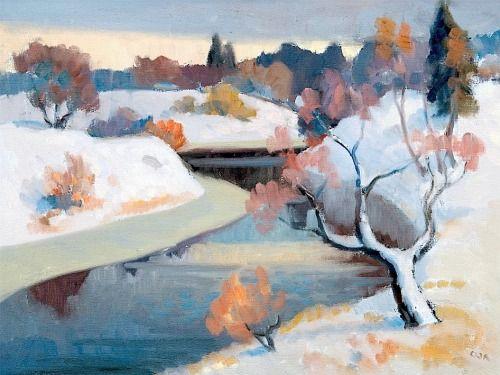 Onni Oja (Finnish, 1909-2004) The First Snow, s.d.